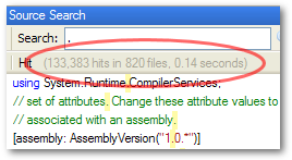 """Screenshot showing """"133,383 hits in 820 files, 0.14 seconds"""""""